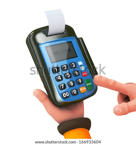 3d Hand and fingers entering pin with pos- isolated - stock photo