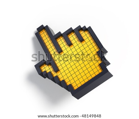 3d hand cursor - stock photo