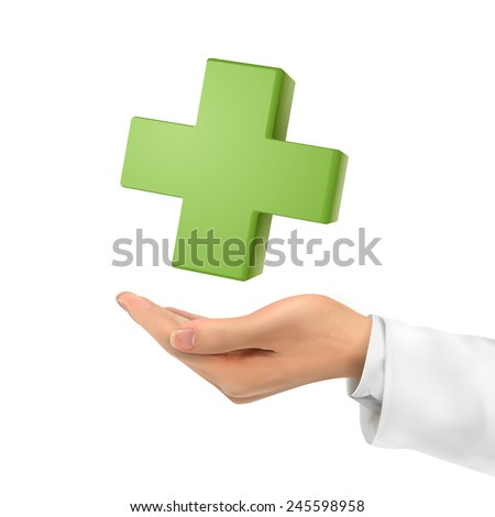 3d hand holding medical symbol over white background - stock photo