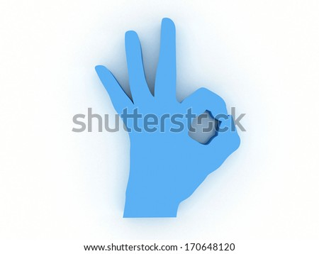 3d hand OK sign isolated on white background - stock photo