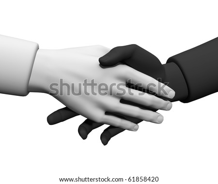 3d Hand shake between a businessman and a businesswoman isolated on white. - stock photo