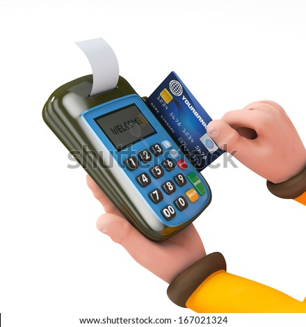 3d Hand swiping generic credit card on an over counter POS  - stock photo