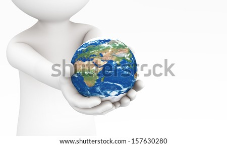 3d hands giving the Earth to you. It represent take care the earth or environment.