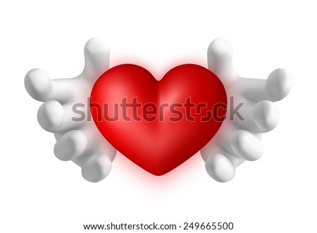 3D Hands holding Red Heart illustration, object isolated - stock photo