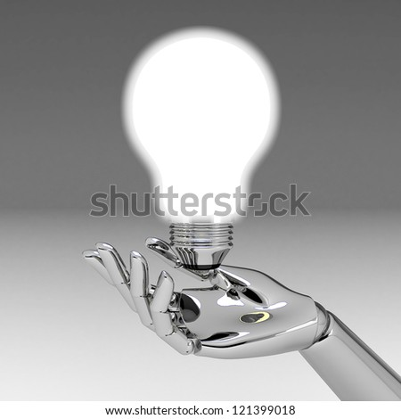 3d hands with light bulb - stock photo
