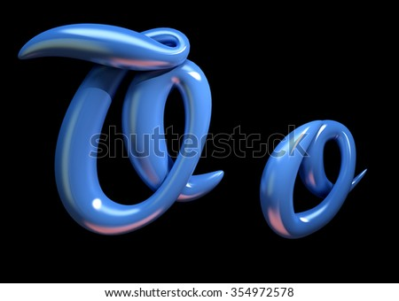 3d handwritten blue plastic alphabet  isolated on black background. Handmade calligraphy uppercase and lowercase letters O - stock photo