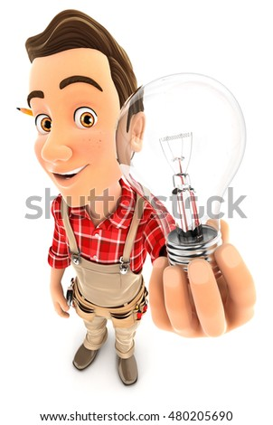 3d handyman holding a light bulb, illustration with isolated white background