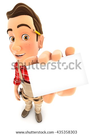 3d handyman holding company card, illustration with isolated white background