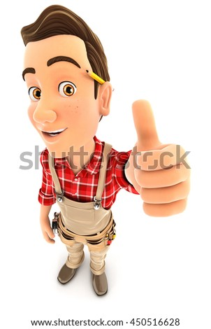 3d handyman positive pose with thumb up, illustration with isolated white background