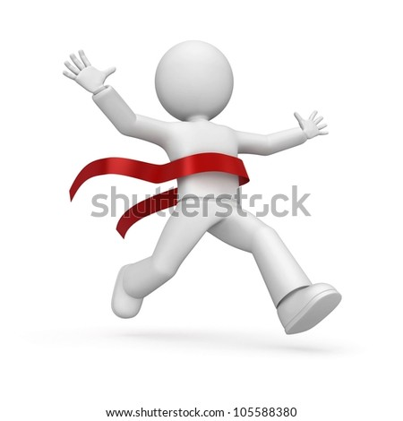 3d happy character - winner, who has crossed finish. - stock photo