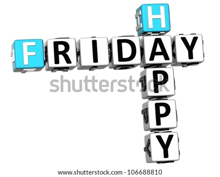 3D Happy Friday Crossword on white background