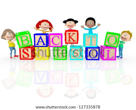 3D happy kids going back to school - isolated over white - stock photo