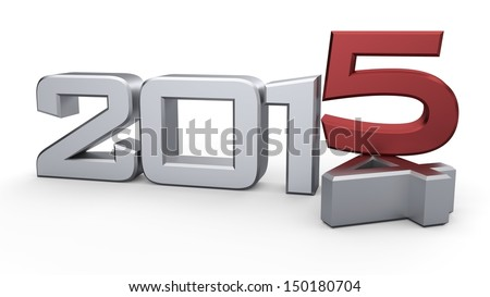 3D happy new year 2015 - stock photo