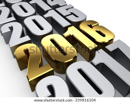 3D happy new year golden 2016 - stock photo