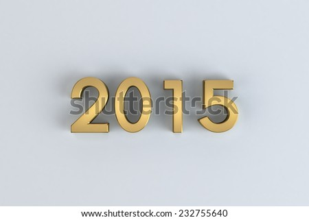 3D happy new year golden 2015 on white  background - stock photo
