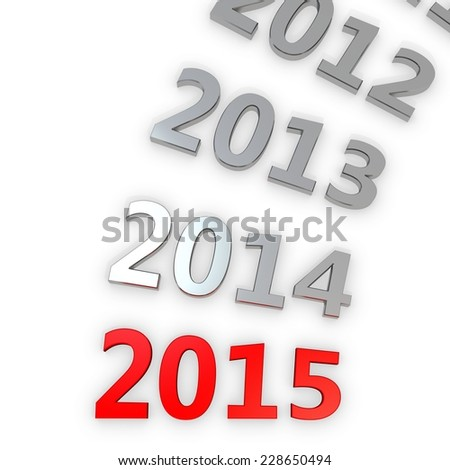 3d Happy New Year 2015 on white background - stock photo