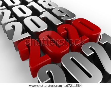 3D happy new year red 2020 - stock photo