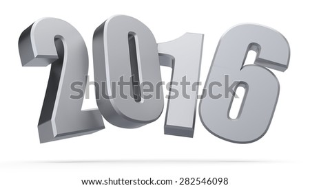 3d happy new year silver 2016 - stock photo