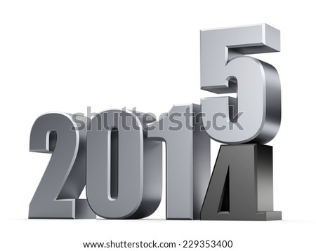3D happy new year 2015 text - stock photo