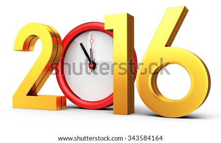 3d happy new year 2016 with clock on white background - stock photo