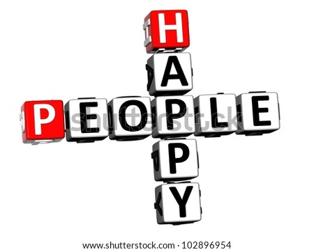3D Happy People Crossword on white background