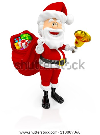 3D Happy Santa Claus with a gift sack - isolated over a white background