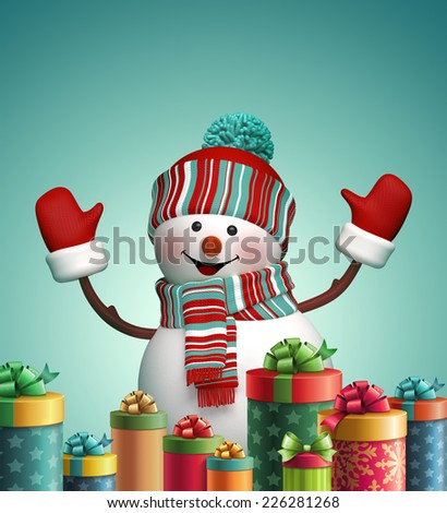 3d happy snowman and wrapped Christmas gifts, winter holiday symbol, isolated illustration - stock photo
