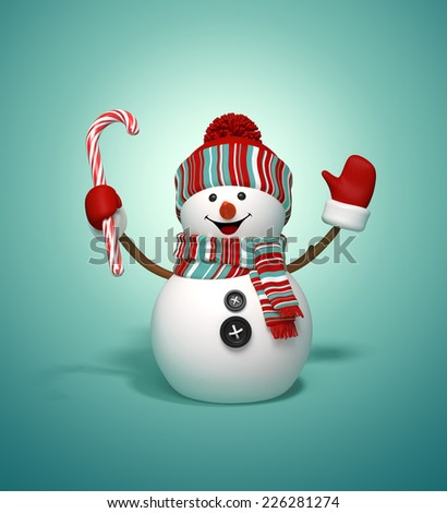 3d happy snowman holding candy cane, Christmas symbol, isolated illustration