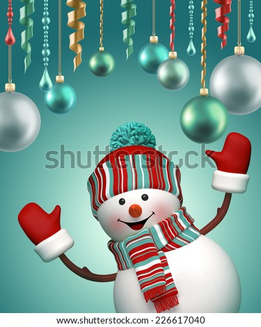 3d happy snowman New Year party, celebrating winter holiday background - stock photo