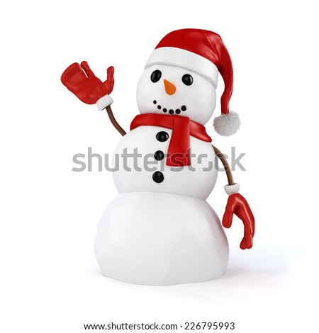 3d happy snowman with santa hat and red gloves on white background