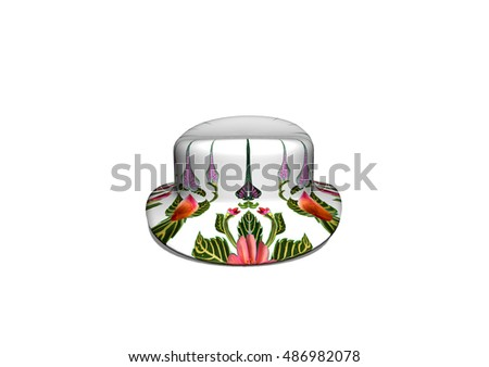 3D hat and pattern of flowers and leaves isolated on white background.