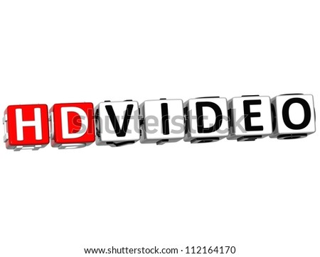 3D HD Video Button Click Here Block Text over white background