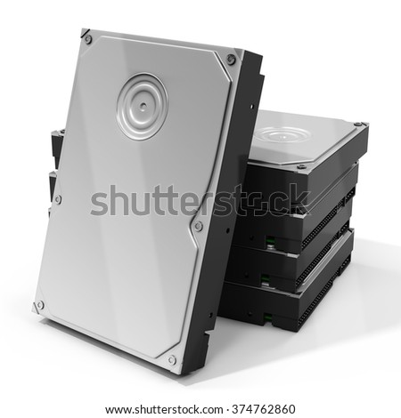 3d HDD  hard drive disk stack on white background - stock photo