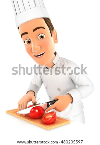 3d head chef cutting a tomato, illustration with isolated white background