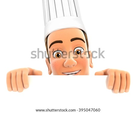 3d head chef hiding behind white wall, isolated white background