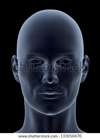 3D head isolated on black background.
