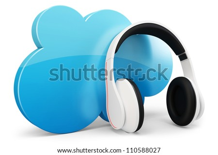 3d headphone with cloud music concept on white background