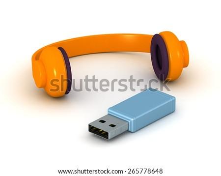 3D Headphones and USB  - stock photo