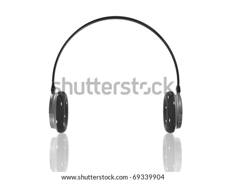 3D Headphones render. Isolated on a white.