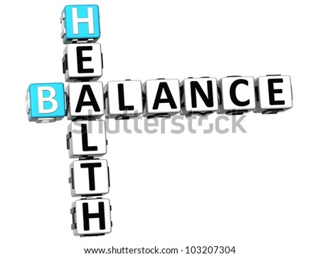 3D Health Balance Crossword on white background