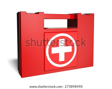 3D. Healthcare And Medicine, First Aid Kit, Emergency Services. - stock photo
