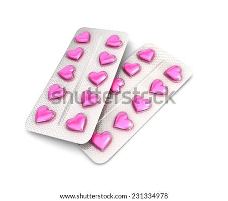 3d heart pills tablet, isolated white background, 3d image - stock photo