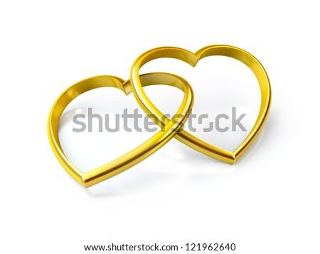 3D heart shaped golden rings on white background - stock photo