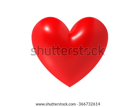 3D heart symbol on a white background - stock photo