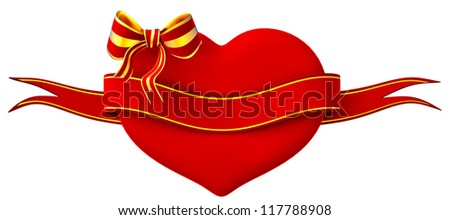 3D heart with bow and ribbon on a white background - stock photo