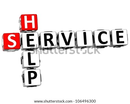3D Help Service Crossword on white background - stock photo
