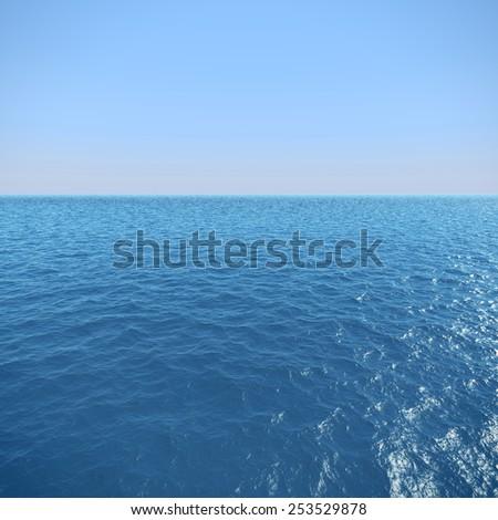 3d high resolution ocean and plain sky - stock photo