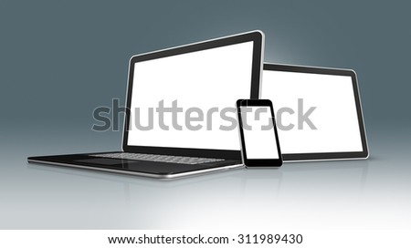3D High Tech laptop, mobile phone and digital tablet pc - isolated on a grey background with clipping path - stock photo