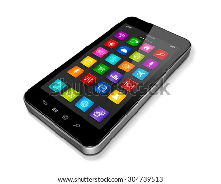 3D High Tech smartphone, mobile phone with apps icons interface - isolated on white with clipping path