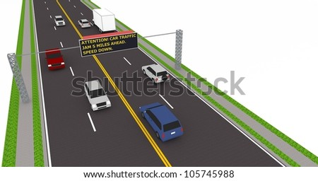 3d highway with traffic led electronic sign. - stock photo